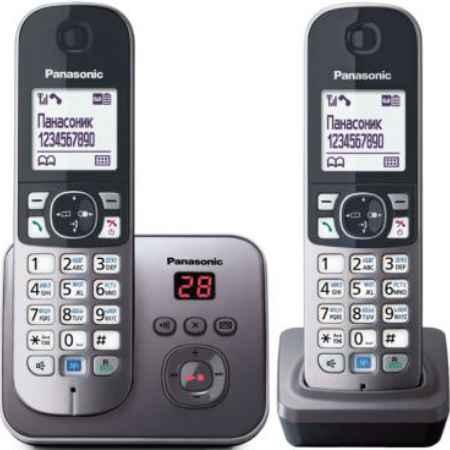 Купить Радиотелефон DECT Panasonic KX-TG6822RUM серый металлик
