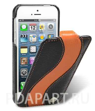 Купить Чехол кожаный Apple iPhone 5/5S - Melkco Special Edition Jacka Type черный с оранжевым