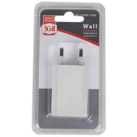 Купить Сетевое зарядное устройство 3Cott 3C-WC-193W-1USB 1xUSB белый