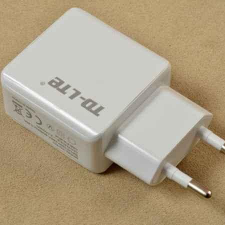Купить Сетевое зарядное устройство TE-LED с двумя USB-выходами (белое)